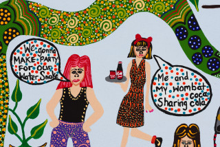 Kaylene Whiskey Seven Sistas Party at Iwantja (detail), 2020; Acrylic on linen; 67 x 91 cm; enquire