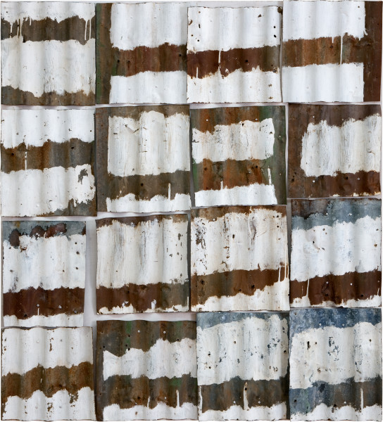 Rosalie Gascoigne High Country, 1999; painted roof-tin; 134 x 121 cm; enquire