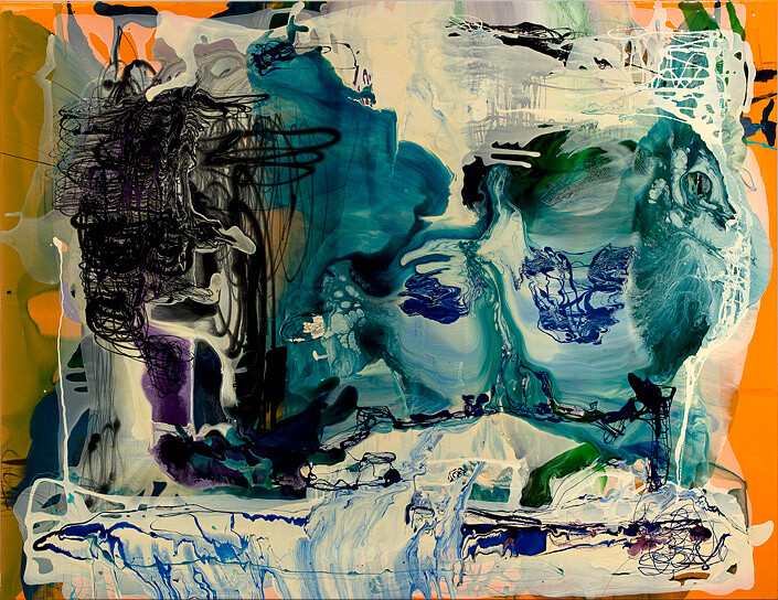 Dale Frank His night would lead to something other, 2012; varnish on canvas; 200 x 260 cm; enquire