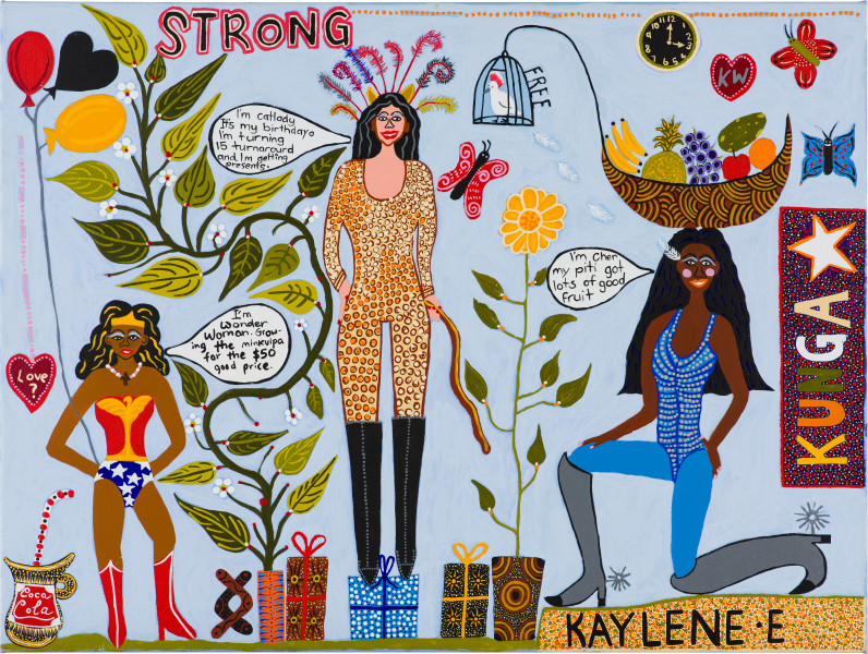 Kaylene Whiskey Strong Kungkas, 2019; acrylic on linen; 91 x 122 cm; enquire
