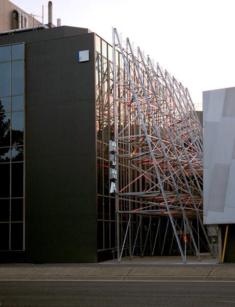 Callum Morton Silverscreen, 2010; Galvanised steel, LED lights; 1770 x 2100 x 740 cm; enquire