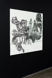 installation view; Pierre Mukeba (SAMAKI), 2021; charcoal and pastel on archival paper; 120 x 168 cm; enquire