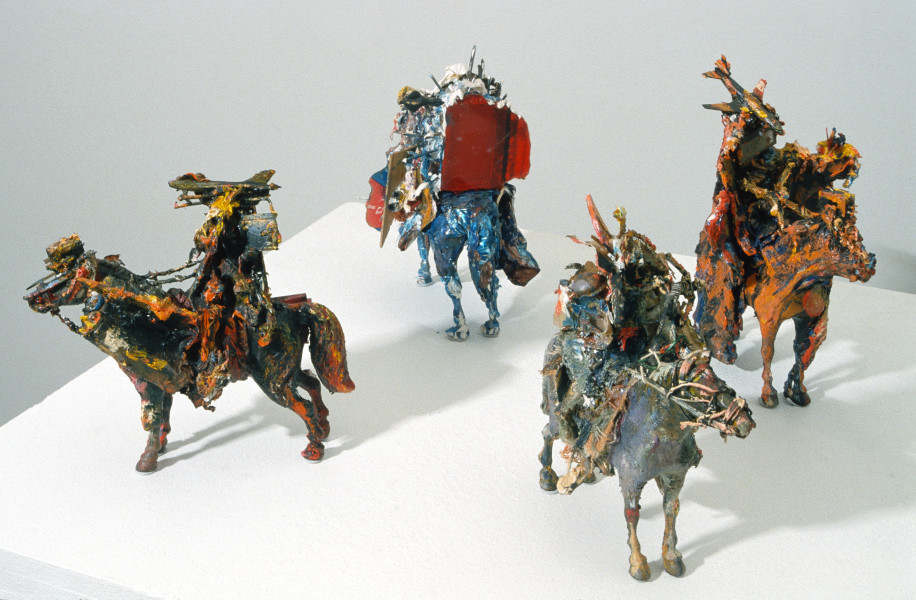Victor Rubin The Four Horsemen of the Apocalypse, 1987; wood, metals, plastic, minerals, oil, acrylic and modelling paste; enquire