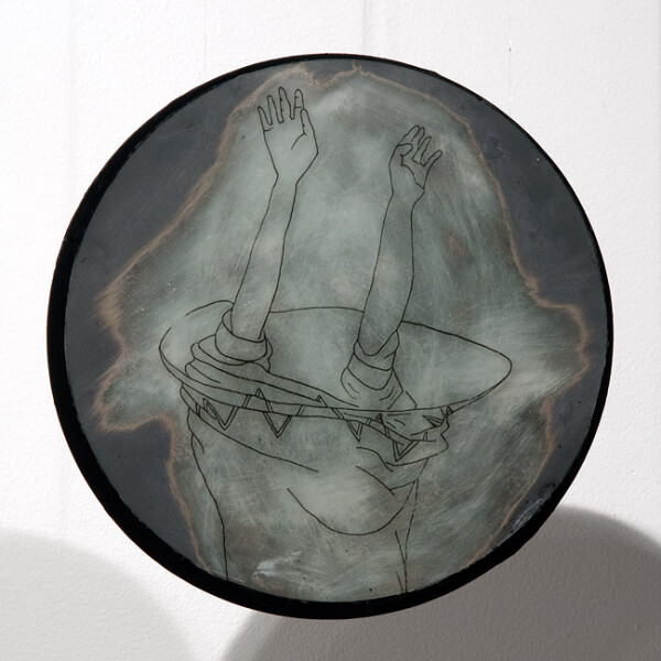 Hossein Ghaemi Forever into, or, 2009; drawing and fine metal filings on mirror and glass; 20 x 20 cm; enquire