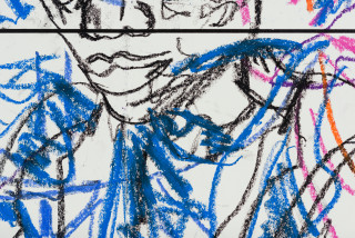 Pierre Mukeba (Emotions of colour (P2) (detail), 2021; charcoal and pastel on archival paper; 60 x 252 cm; enquire