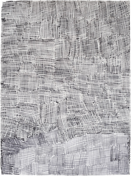 Nyapanyapa Yunupingu Djorra (paper) 5, 2014; TPA125; felt tip pen, earth pigments on discarded print proofs; 75 x 56 cm; Enquire