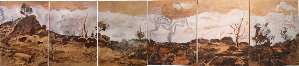 Mandy Martin and Trisha Carroll Mt Collins Road, 2004; ochre, pigment and acrylic on Arches paper; 40 x 180 cm; enquire