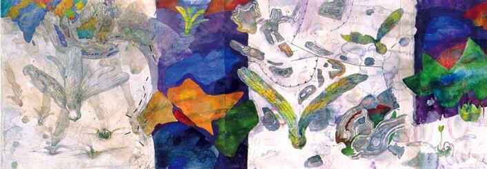 John Wolseley Tracing the Wallace Line; descent of dipterocarp, 1999; watercolour on paper; 56 x 190 cm; enquire