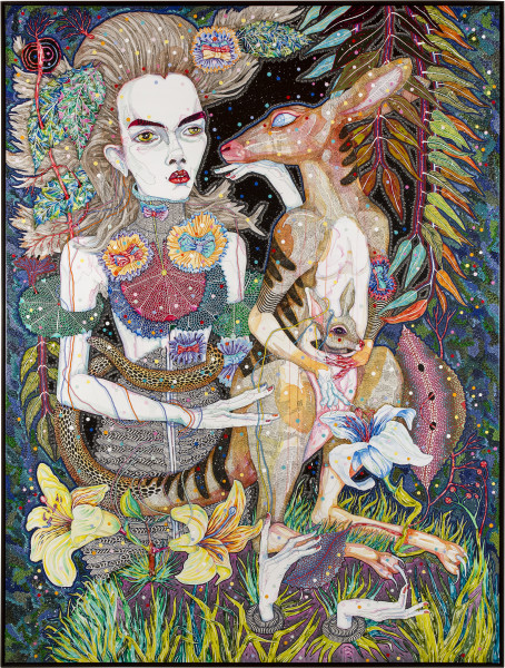 Del Kathryn Barton what i am also, 2013; synthetic polymer paint and gouache on polyester canvas; 243 x 183 cm; enquire
