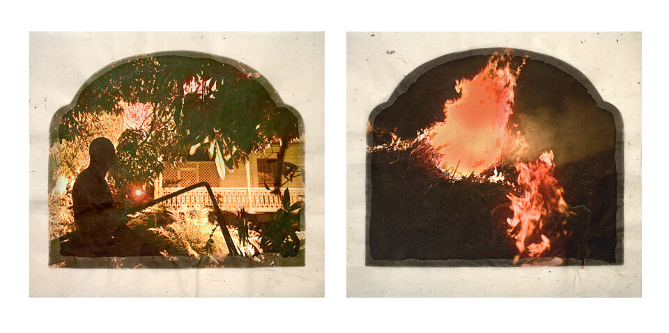 Tracey Moffatt Plantation (Diptych No. 10), 2009; digital print with archival pigments, InkAid, watercolour paint and archival glue on handmade Chautara Lokta paper; 46 x 50.5 cm (each); Edition of 12 + AP 2; enquire