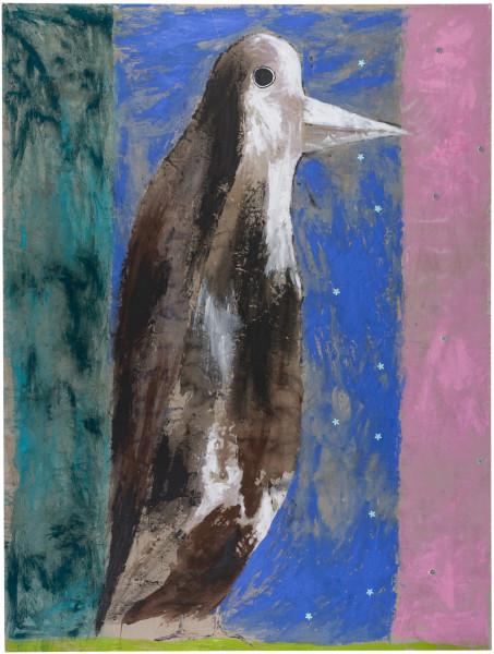 Jenny Watson Young magpie, 2018; acrylic, Japanese pigments, haberdashery on rabbit skin glue primed Belgian linen; 270 x 203.5 cm; enquire