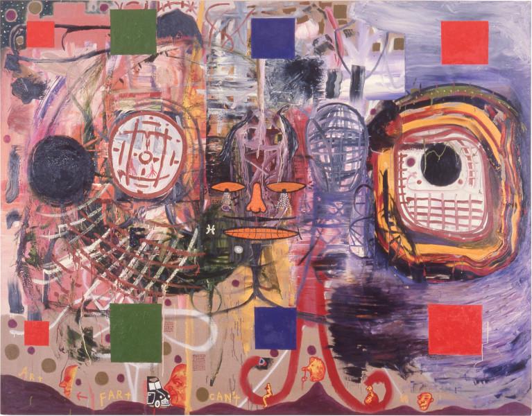 Gareth Sansom Art Can't Fart (For Rose Selavy), 1988; oil and enamel on linen; 213.3 x 274.3 cm; enquire