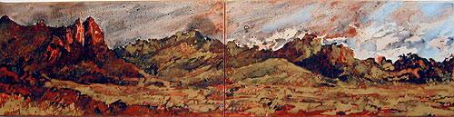 Mandy Martin Salvator Rosa peaks from Martin Range, 2002; pigment, ochre, hematite, mica, wax medium & acrylic binder on paper; 30 x 120 cm; diptych; enquire