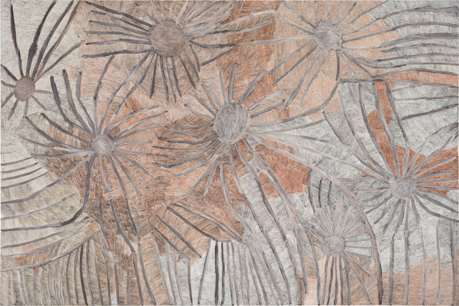 Nyapanyapa Yunupingu Djulpan (seven sisters), 2020; 3151-20; natural earth pigments on board; 365.5 x 244 cm; enquire