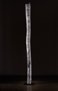 Nyapanyapa Yunupingu untitled, 2018; 2460-18; natural earth pigments on hollow log; 243 x 15 x 15 cm; Enquire