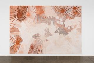 installation view; Nyapanyapa Yunupingu Ganyu, 2020; 2071-20; natural earth pigments on board; 240 x 360 cm; enquire