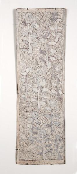 Nyapanyapa Yunupingu 22. Untitled, 2013; 4258K; natural earth pigments on bark; 112 x 36 cm; enquire