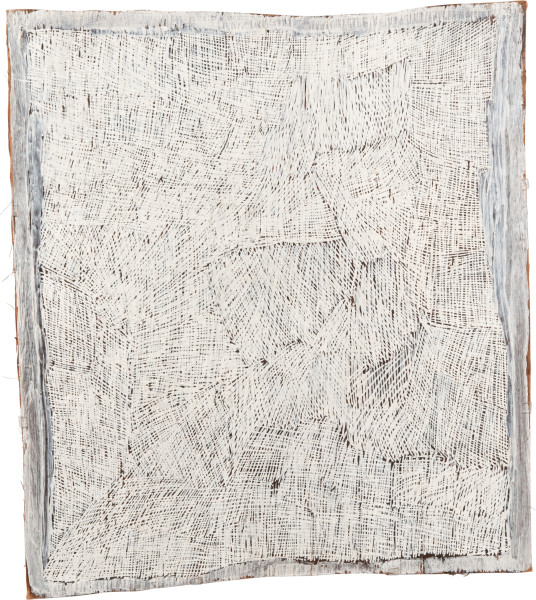 Nyapanyapa Yunupingu 18. White Painting #5, 2009; 3586V; Natural earth pigments on bark; 95 x 89 cm; enquire
