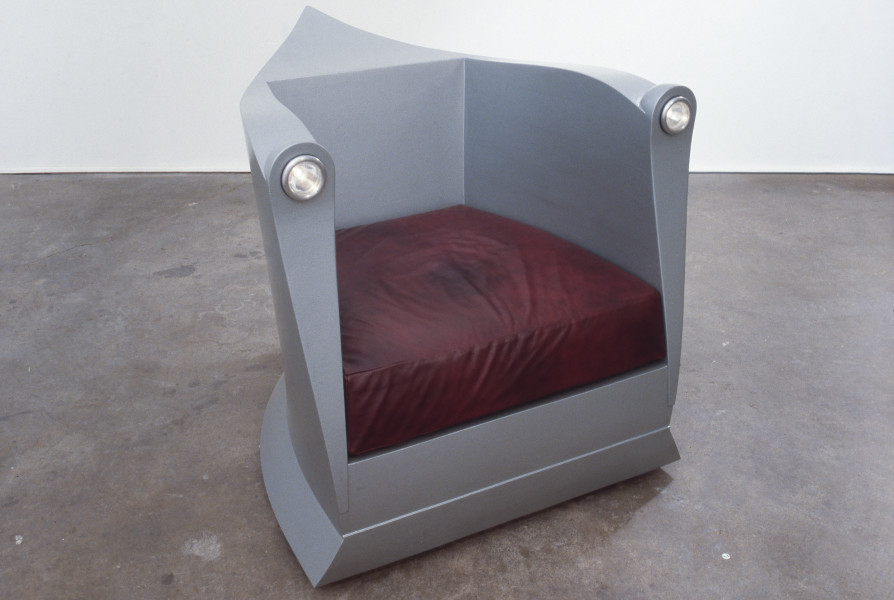 Marc Newson Electric Chair, 1986; aluminium, wood, leather and coating; 82 x 82 x 100 cm; enquire