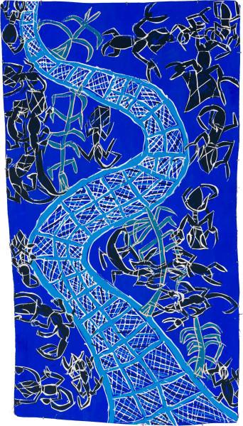 Dhambit Munuŋgurr Dhakawa at Wandawuy, 2020; 3164-20; earth pigments and acrylic on bark; 186 x 104 cm; enquire