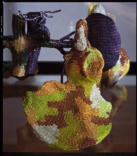 Fiona Hall Understorey, 1999-04; Glass beads, silver wire, plastic; vitrine dimensions: 176 x 150 x 87cm; enquire