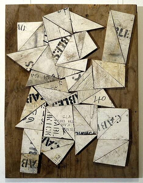 Rosalie Gascoigne Gazette, 1994; sawn wood on plywood; 77.5 x 59 cm; enquire