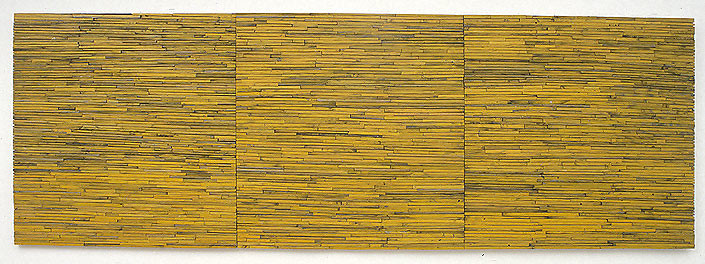 Rosalie Gascoigne Great Blond Paddocks, 1998-99; sawn wood on wood; 3 panels, 122 x 115, 122 x 115, 121 x 120 cm; enquire