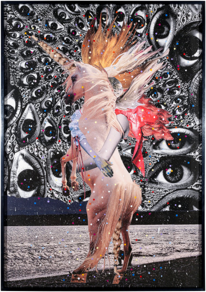 Del Kathryn Barton inside another land #16 version two, 2016; photomontage archival print on rag with acrylic paint; 202 x 144 cm; (framed); enquire