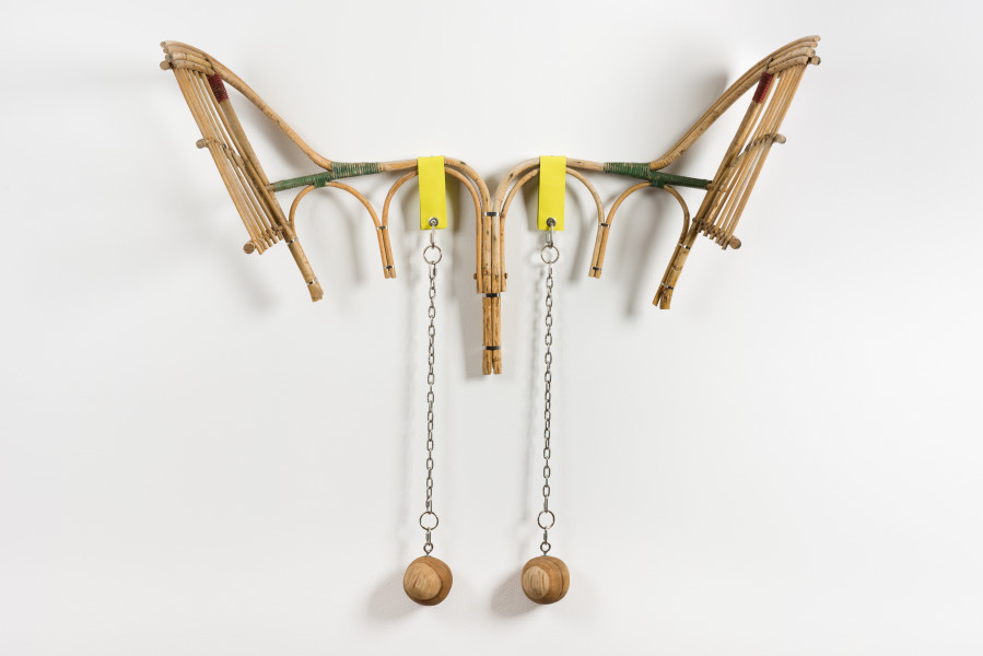 Sarah  Contos Bat, 2019; repurposed cane, leather, wood, stainless hardware; 120 x 128 x 27 cm; enquire