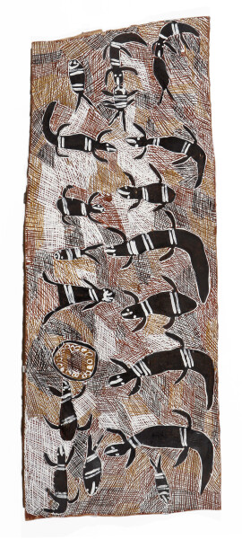 Nyapanyapa Yunupingu Biranybirany, 2008; 3242A; natural earth pigments on bark; 136 x 54 cm; enquire