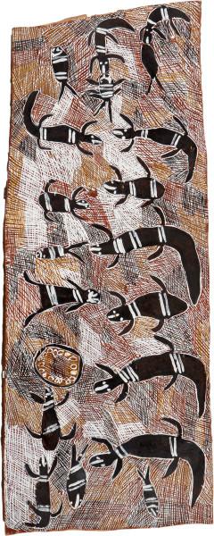 Nyapanyapa Yunupingu Biranybirany, 2008; 3242A; natural earth pigments on bark; 136 x 54 cm; enquire