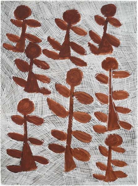 Nyapanyapa Yunupingu Djorra (paper) 12, 2014; 4684A; felt tip pen, earth pigments on discarded print proofs; 75 x 56 cm; Enquire