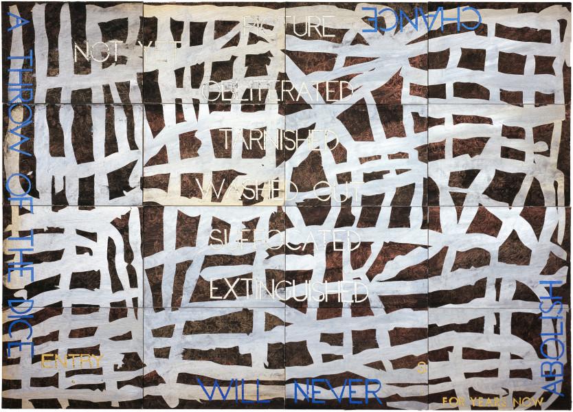 Imants Tillers Nature Speaks: S, 2006; acrylic, gouache on 16 canvasboards nos. 78872 - 78887; 101.6 x 142.2 cm; enquire
