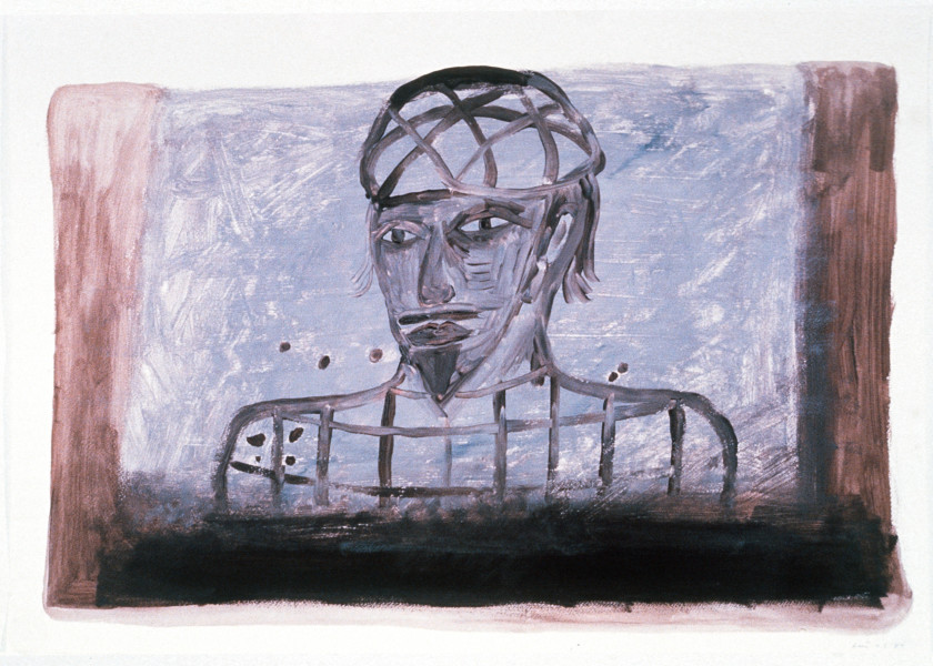 Gareth Sansom Ram, 1989; acrylic on paper; 56 x 76 cm; enquire