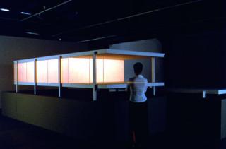 installation view; Callum Morton International Style, 1999; Acrylic, automotive paint, vinyl, lights, sound; 240 x 80 x 50 cm; Edition of 3; enquire