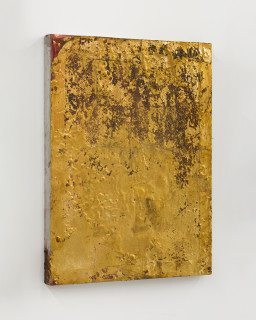 Kirtika Kain The Solar Line XI, 2020; Screen printing emulsion, gold leaf, beeswax, disused silk screen; 64 x 49 cm; enquire