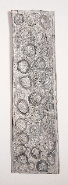 Nyapanyapa Yunupingu 20. Untitled, 2013; natural earth pigments on bark; 131 x 40 cm; enquire