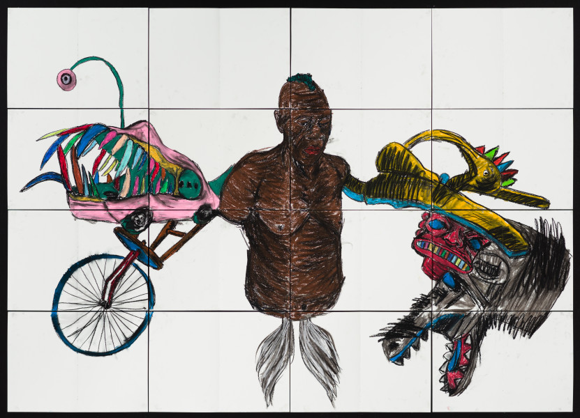 Pierre Mukeba KINGA, 2021; charcoal and pastel on archival paper; 120 x 168 cm; enquire