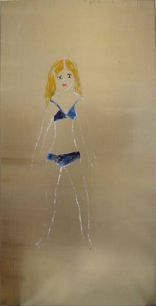 Jenny Watson Girl, 1995; oil on gold synthetic + acrylic on stretcher; 100 x 52 cm; enquire