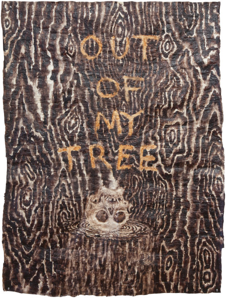 Fiona Hall In a Dark Wood, 2013; bark cloth with earth pigments and plant dyes; 164 x 123 cm; enquire