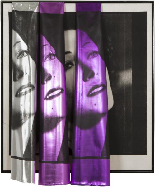 Sarah  Contos 20th Century Sunrise (Gloria #3), 2017; screen print on canvas and metallic fabric, aluminium; 103 x 86 x 23 cm; enquire
