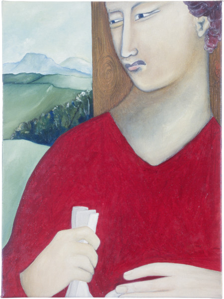 Vivienne Shark LeWitt Other Man with a Letter, 1986; oil on linen; 40.8 x 30.6 cm; enquire