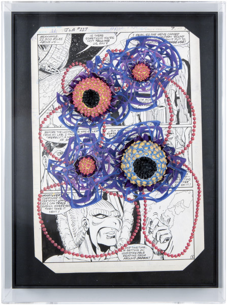 Rohan Wealleans 3d aboriginal painting model horror-gami  above us        , 2014; paint, gouache and polystyrene on original pencil and inks; 47 x 35.5 x 10 cm; enquire