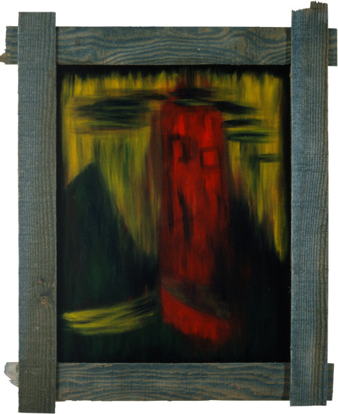 Dale Frank From the Window the Tower. The Face, 1982; acrylic and impregnated varnishes on canvas; 90 x 72 cm; enquire