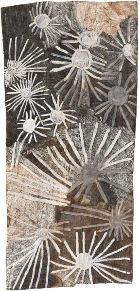 Nyapanyapa Yunupingu untitled, 2018; 6248-18; natural earth pigments on bark; 229 x 109 cm; enquire