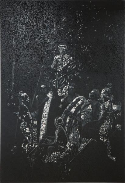 Daniel Boyd Untitled (RCB), 2016; oil, acrylic and polymer medium on canvas; 304 x 208 cm; enquire
