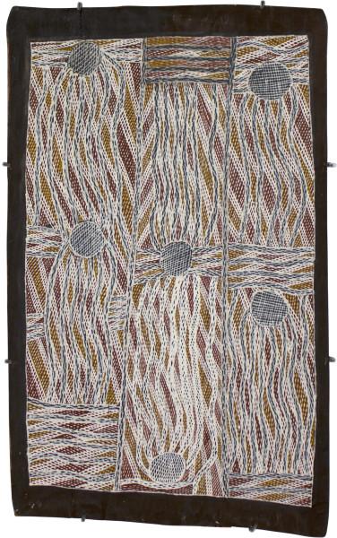 Mulkun Wirrpanda Bindiyalngu, 2015; 4788X; Bark painting; enquire