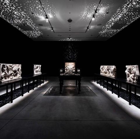 Daniel Boyd in his exhibition 'Pediment/Impediment'