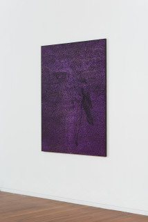 installation view; Daniel Boyd Untitled (CITBINQ), 2020; oil, acrylic, charcoal and archival glue on canvas; 150 x 120 cm; Enquire