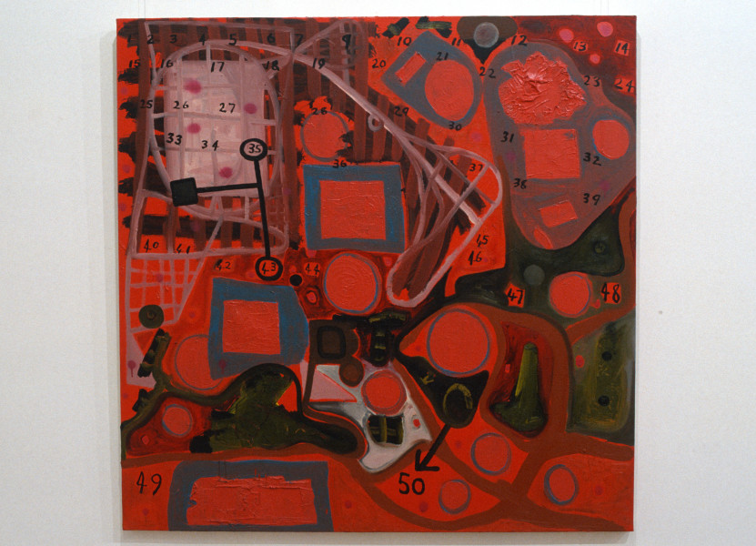 Gareth Sansom Numbers and Shapes, 1991; mixed media on linen; 137 x 137 cm; enquire